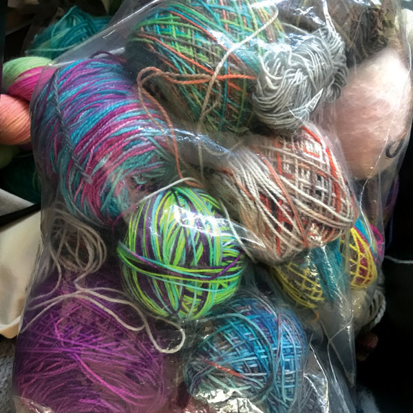 A bag of yarn ends