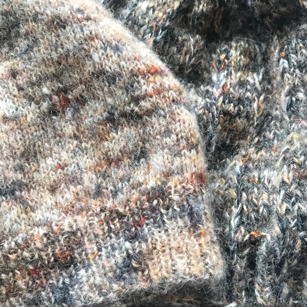 Two hats knit in soft Suri alpaca yarn